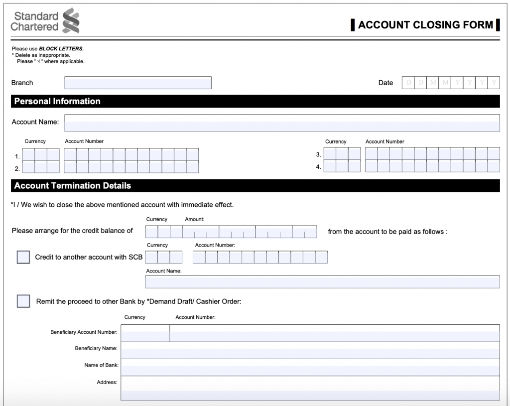 Standard Chartered Closing Form 1