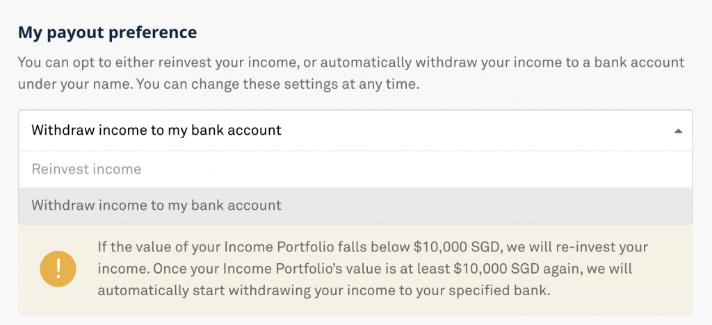 StashAway Income Portfolio Withdraw Or Reinvest Dividends