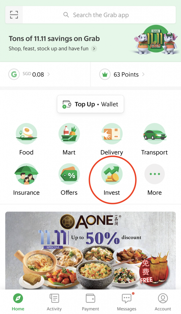 Grab AutoInvest Sign Up