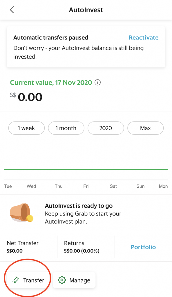 Grab AutoInvest Transfer To GrabPay Wallet