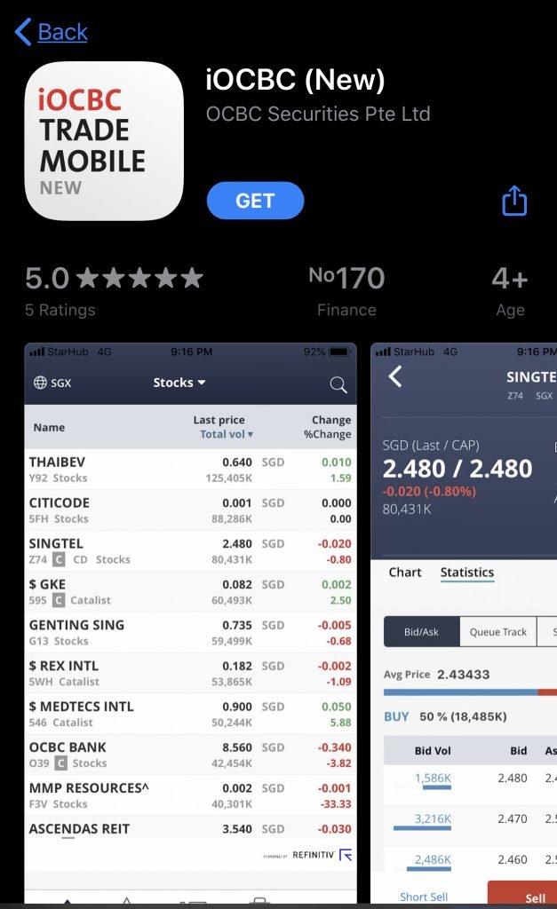 OCBC Securities App Store