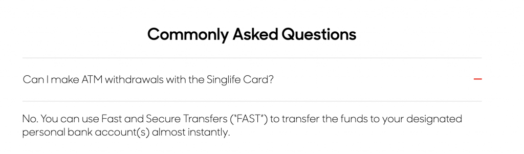 SingLife Account No ATM Withdrawals