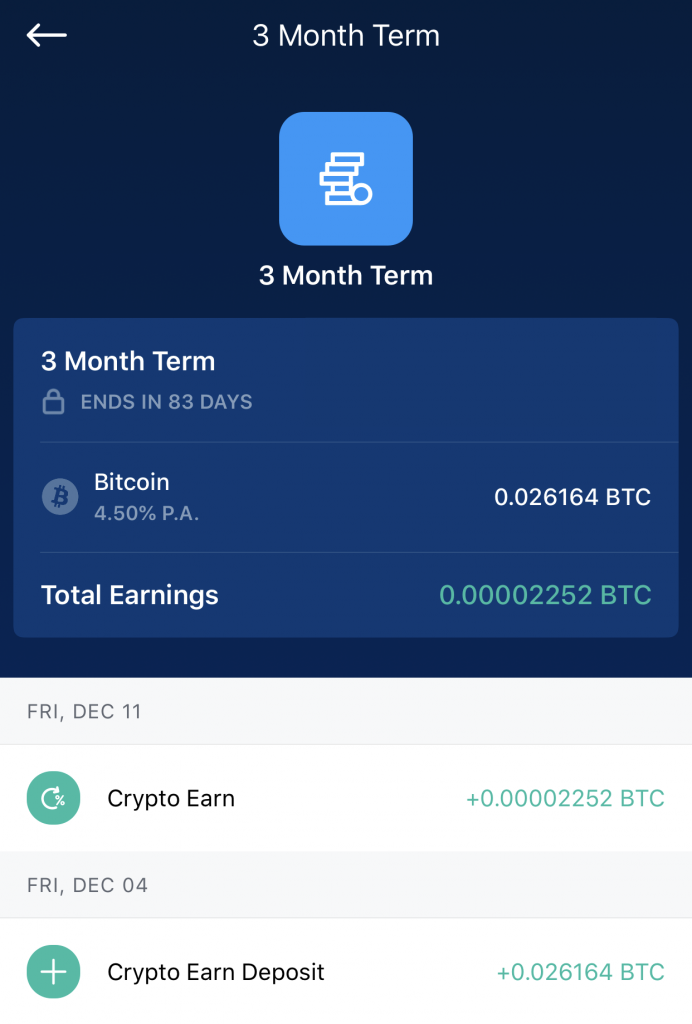 Crypto Earn 3 Month Term Interest