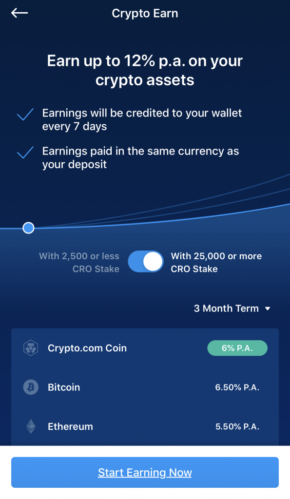Crypto Earn Interest Rate With 25000 CRO Staked