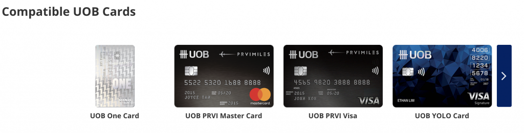 UOB Contactless Withdrawal Compatible Cards