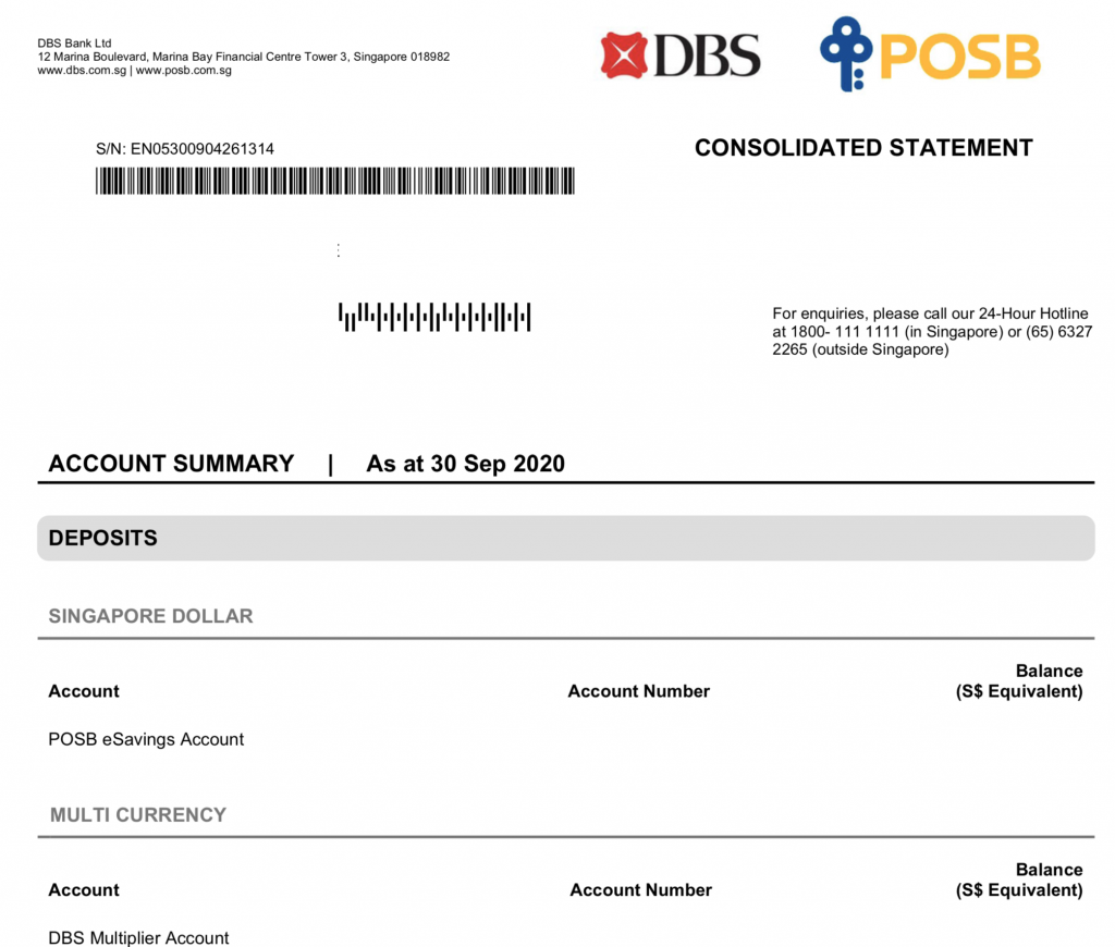 DBS vs POSB Consolidated Statement