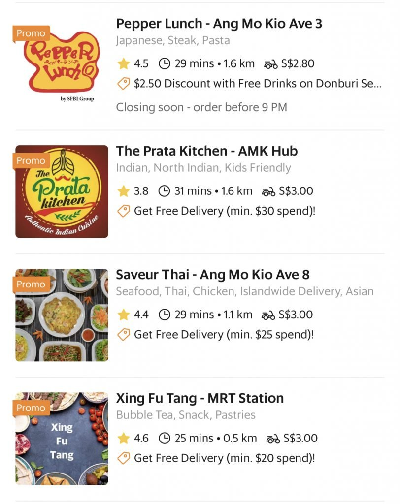 GrabFood Normal Delivery Fees