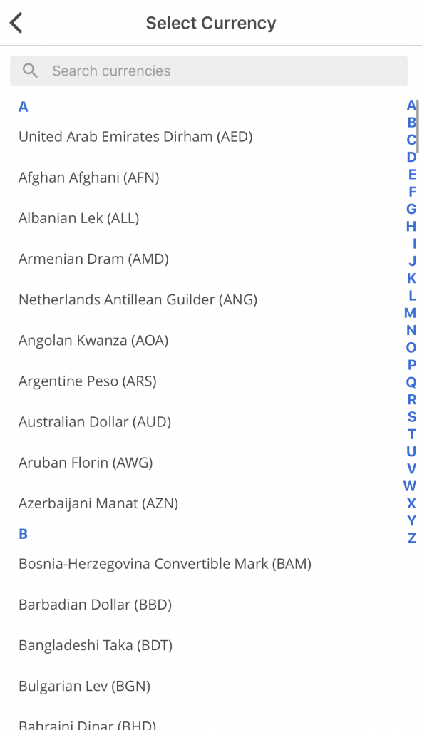 Seedly App Select Currency