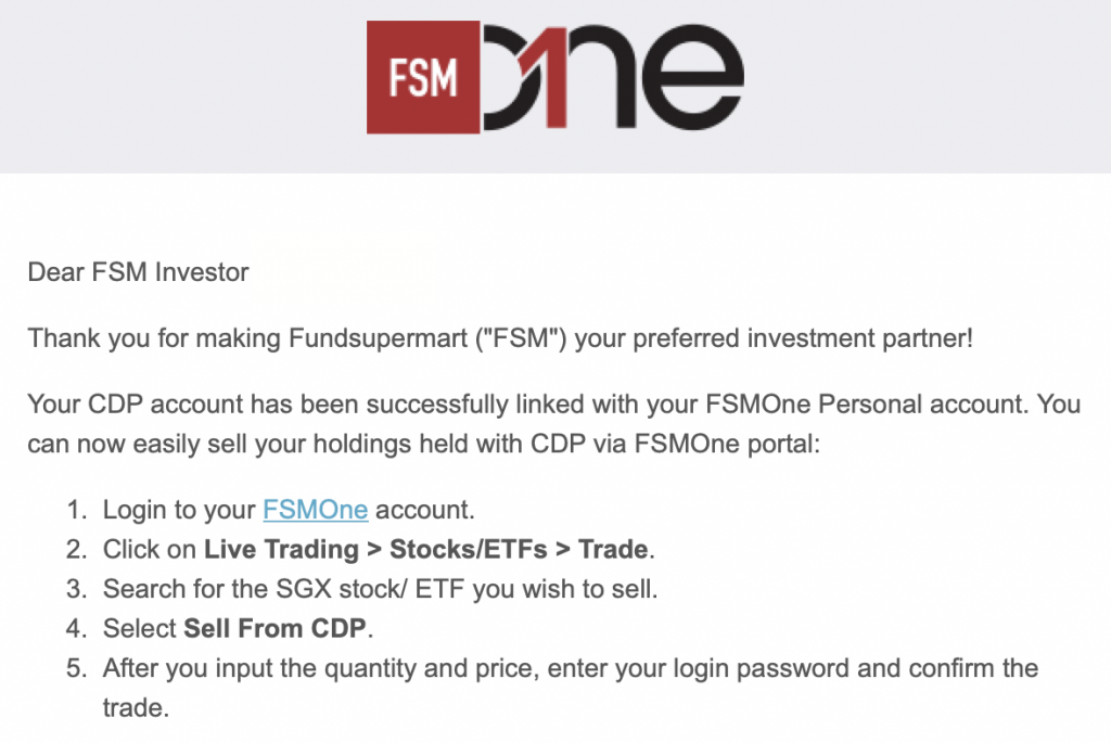 FSMOne CDP Linkage Email