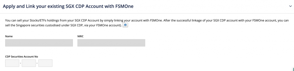 FSMOne Enter CDP Account Details