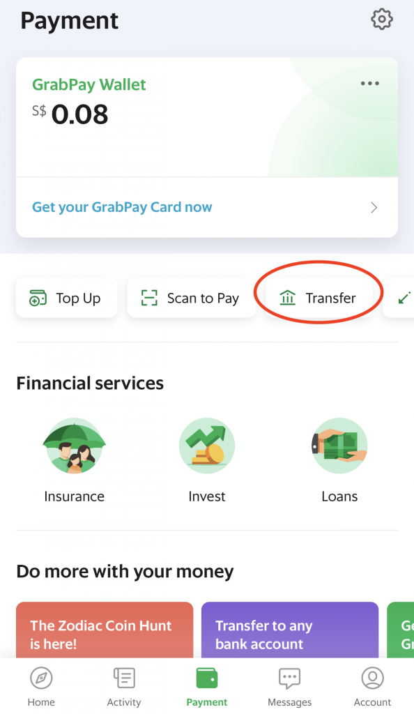 Withdraw Money From GrabPay Make A Transfer