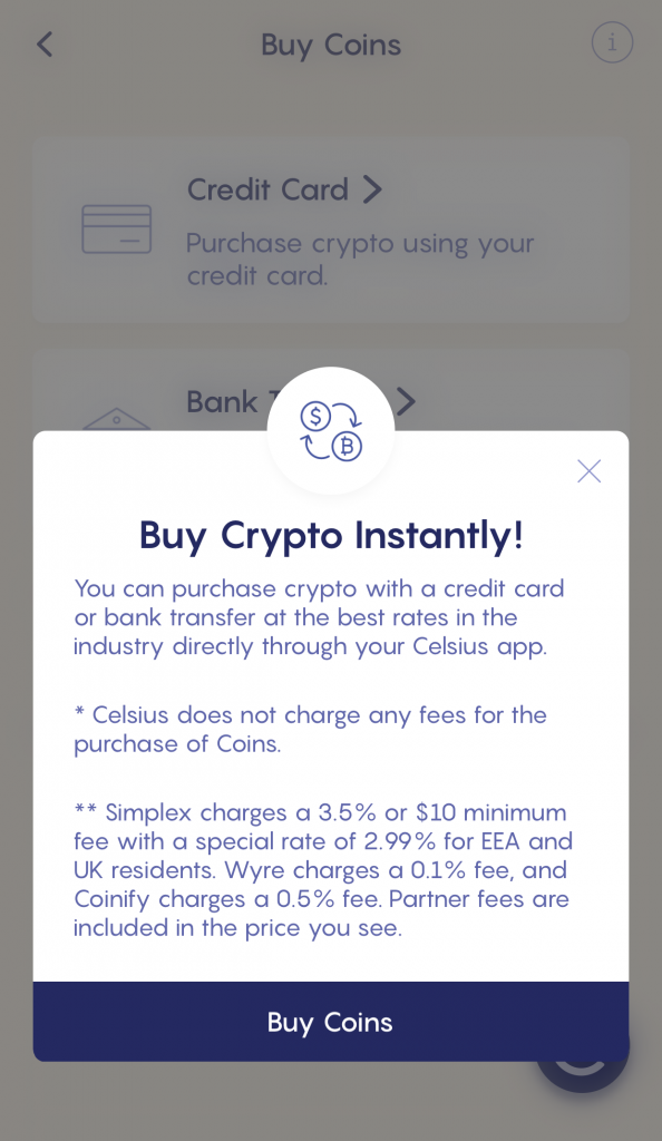 Celsius Buy Crypto Instantly