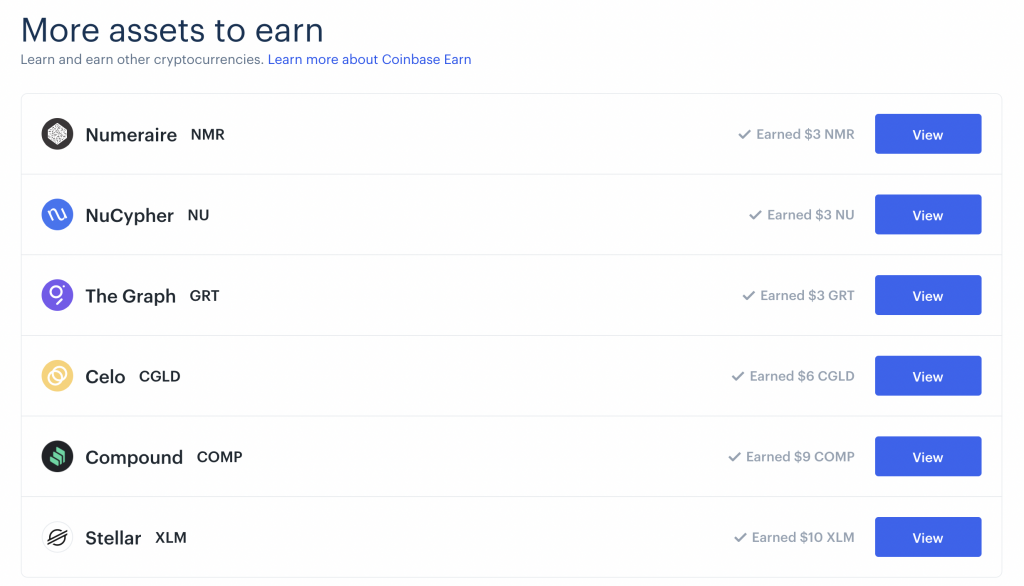 Coinbase Earn Completed Earnings
