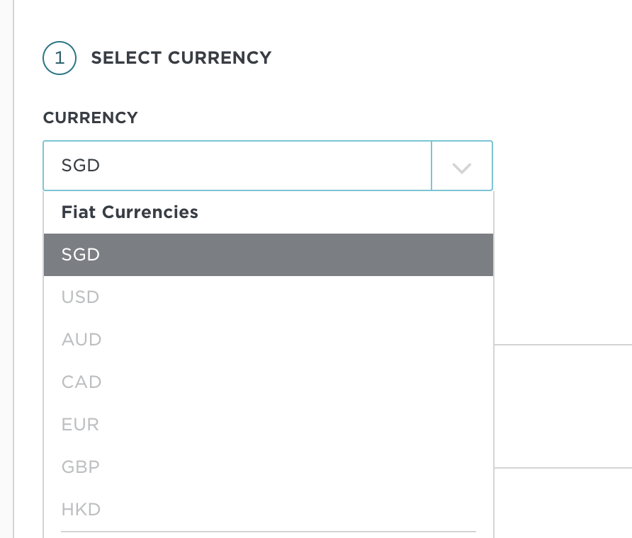 Gemini Select Currency As SGD