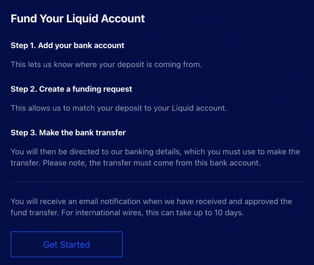 Liquid Funding Your Account Instructions