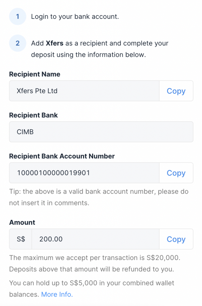Xfers Bank Account Details