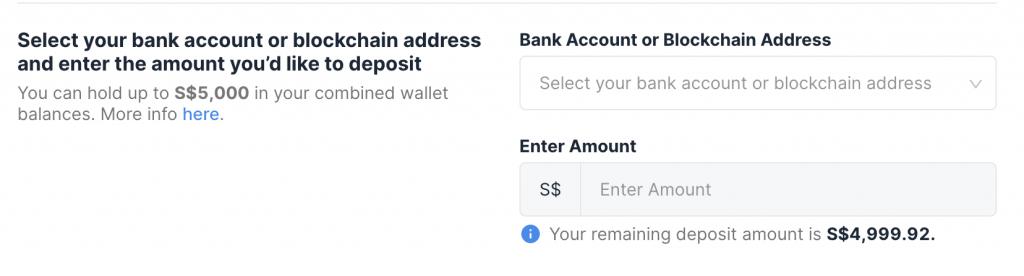 Xfers Deposit Amount