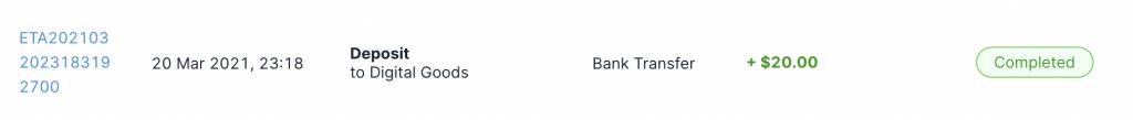 Xfers Deposit Confirmed