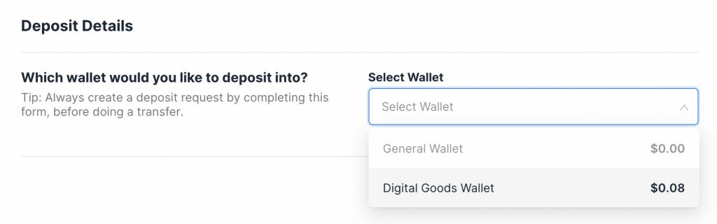 Xfers Deposit Into Digital Goods Wallet