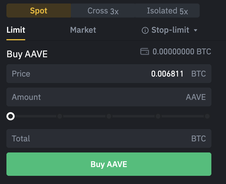 Binance Buy AAVE From BTC
