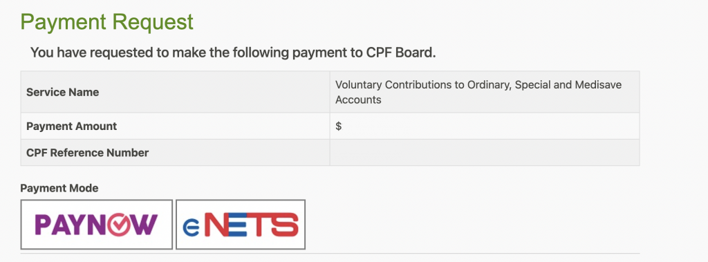 CPF OA Select Mode Of Payment