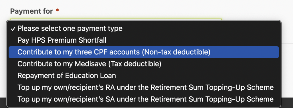 CPF OA Top Up Select Contribution To All 3 Accounts