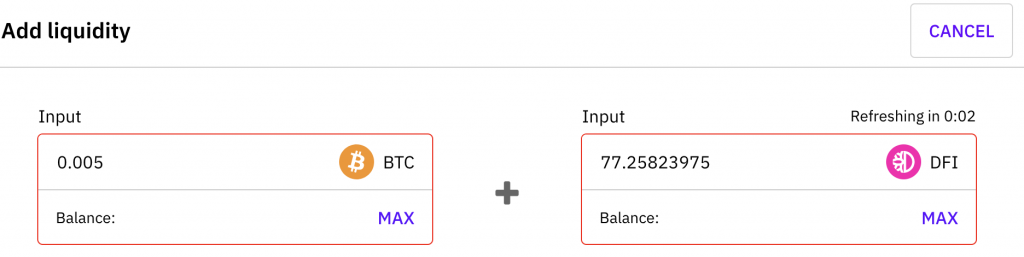 Cake DeFi See Rate for BTC DFI