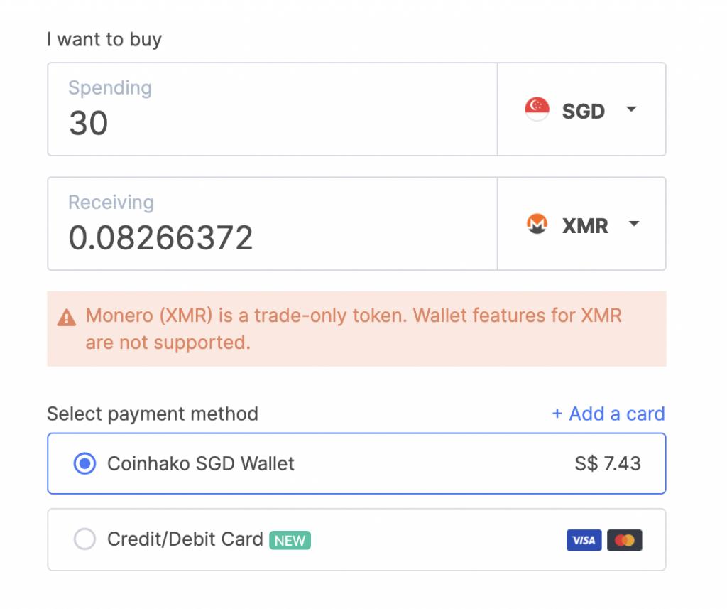 Coinhako Buy XMR Price