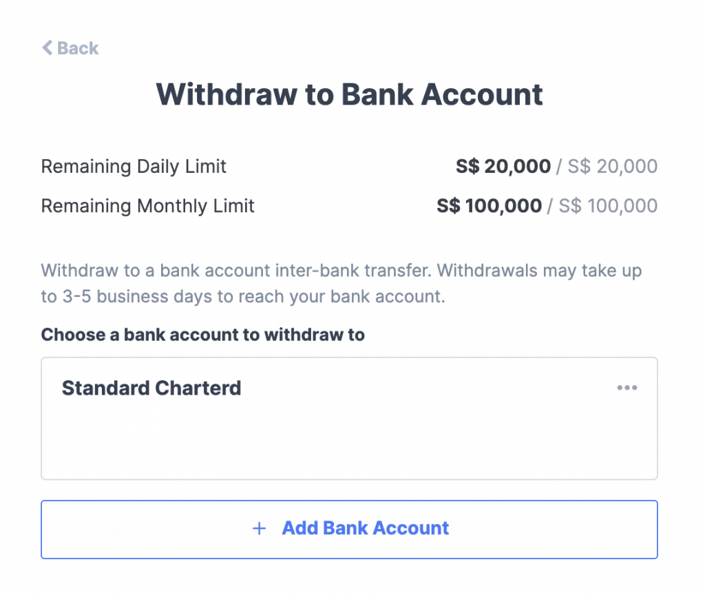 Coinhako Select Bank Account To Withdraw To