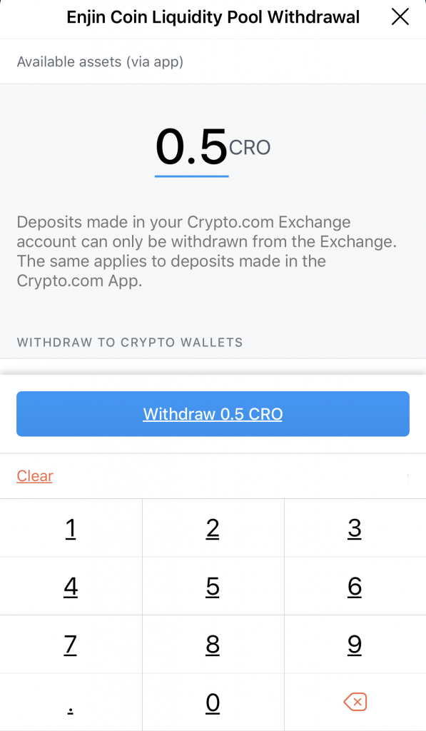 Crypto.com Supercharger Select Amount To Withdraw