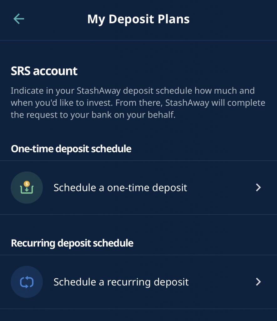 StashAway SRS Select Type Of Transfer