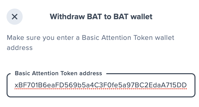 Uphold Paste External Wallet Address To Withdraw BAT