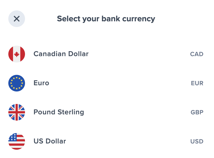Uphold Select Bank Currency