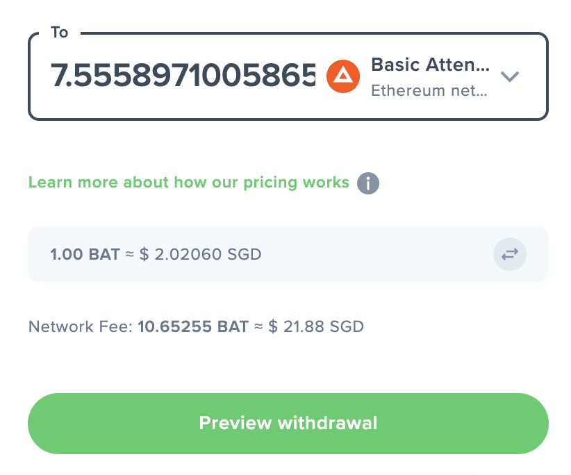Uphold View Network Fee Withdraw BAT