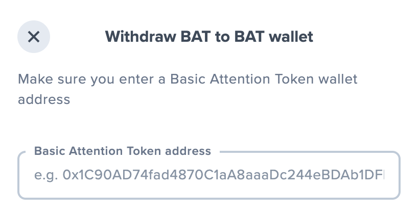 Uphold Withdraw BAT To BAT Wallet