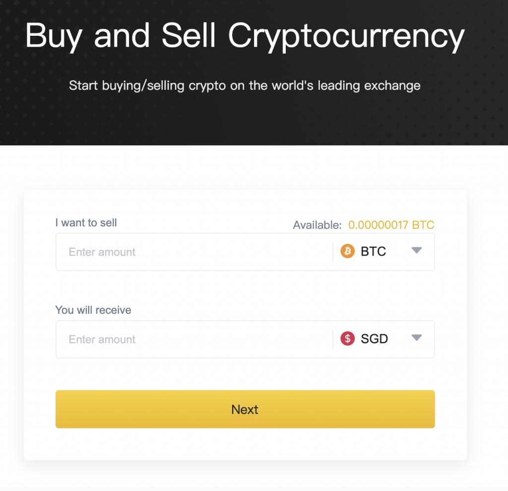 Binance Credit Card Sell Crypto Page