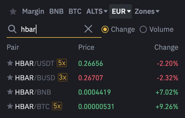 Binance HBAR Trading Pairs