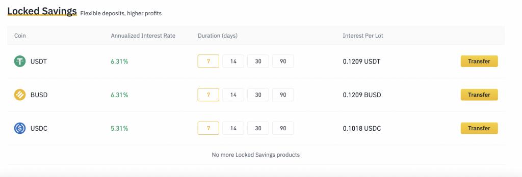 Binance Locked Savings