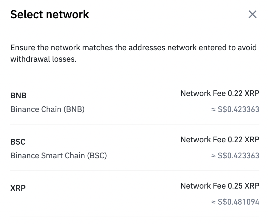 Binance Select Network To Withdraw Currency