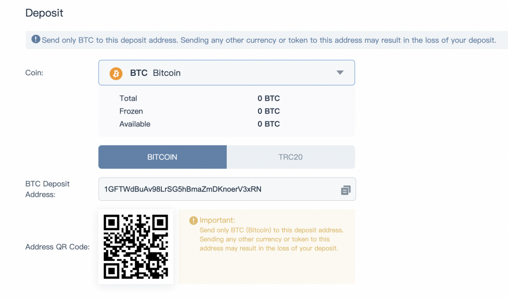 Bitrue Deposit BTC