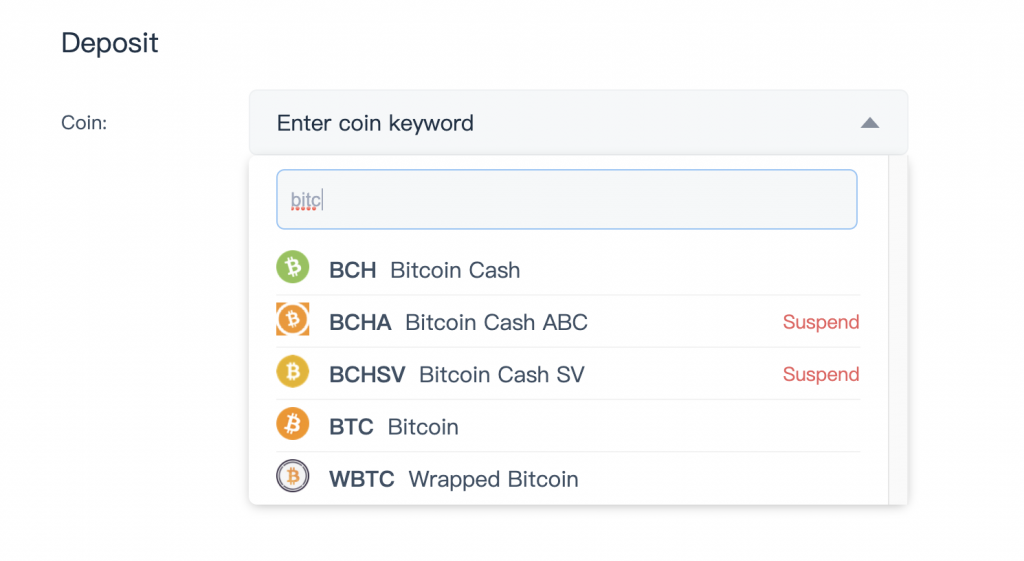 Bitrue Select Currency To Deposit