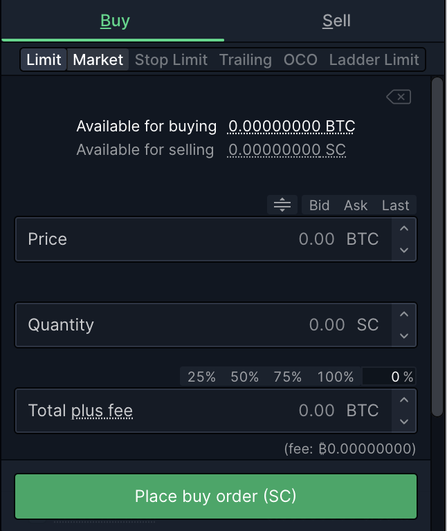 Bittrex Buy Siacoin From Bitcoin