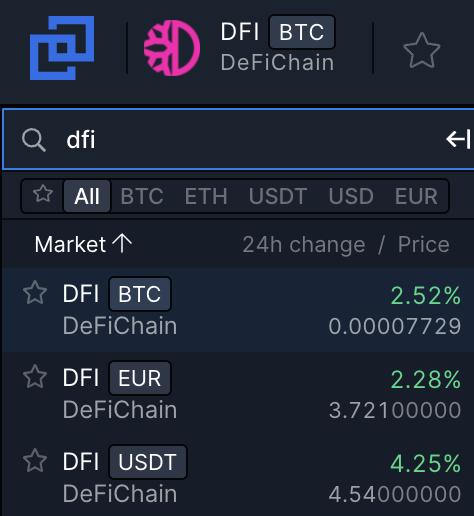 Bittrex DFI Trading Pairs