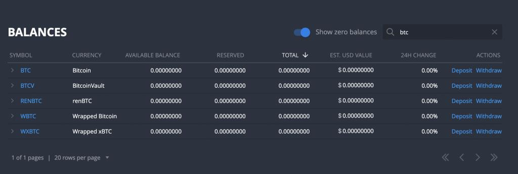 Bittrex Deposit BTC Search