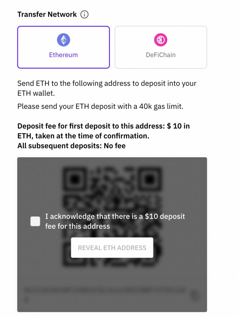 Cake DeFi Deposit ETH Address