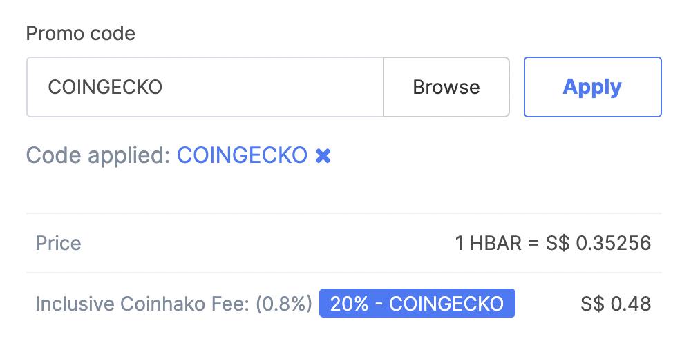 Coinhako Buy HBAR Fee COINGECKO Promo