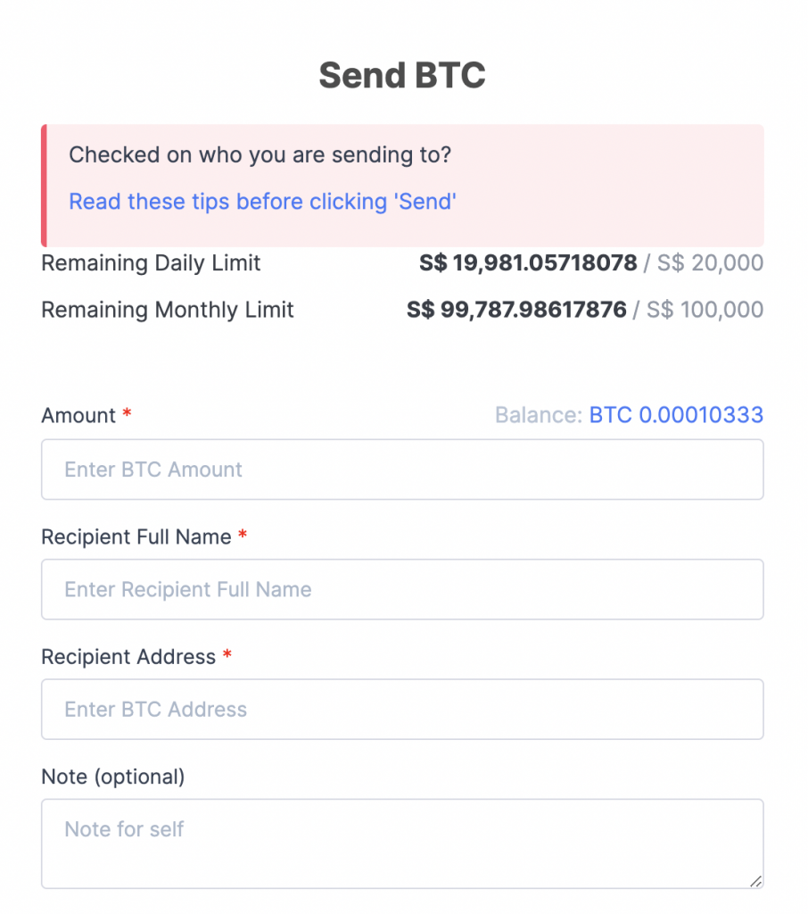 Coinhako Withdraw Bitcoin Details