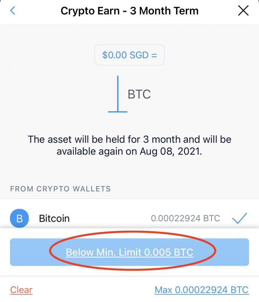 Crypto.com Earn Minimum Amount