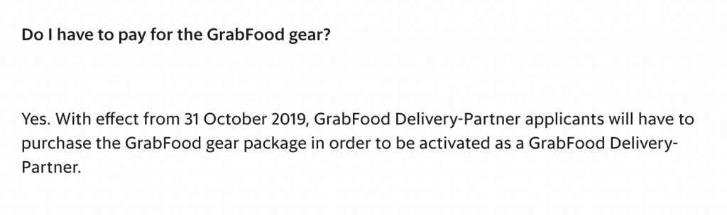 GrabFood Walker Pay For Gear