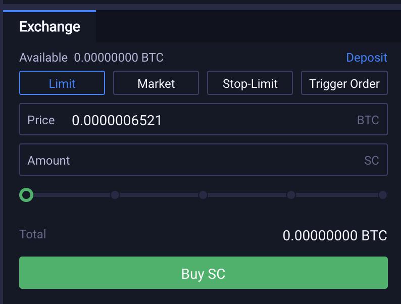 Huobi Buy SC From BTC